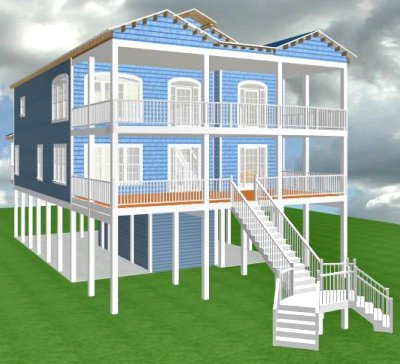 Carolina coastal designs inc surfside project data for Inverted beach house plans