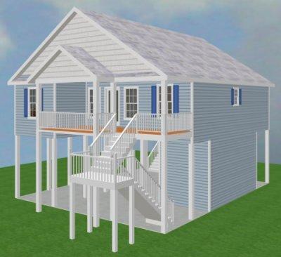Carolina coastal designs inc bluebill cottage project data for Island house plans on pilings