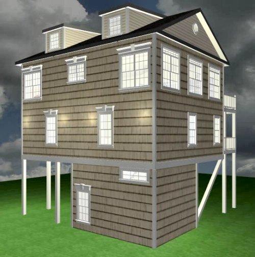 Coastal home under 2500 sq ft gjh050214 carolina coastal for Inverted beach house plans